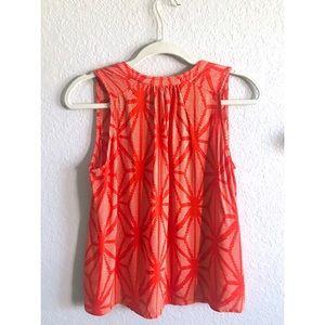 Anthropologie Tops - Anthropologie Maeve orange & white sleeveless top